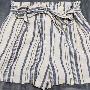 Zara high waisted striped linen shorts